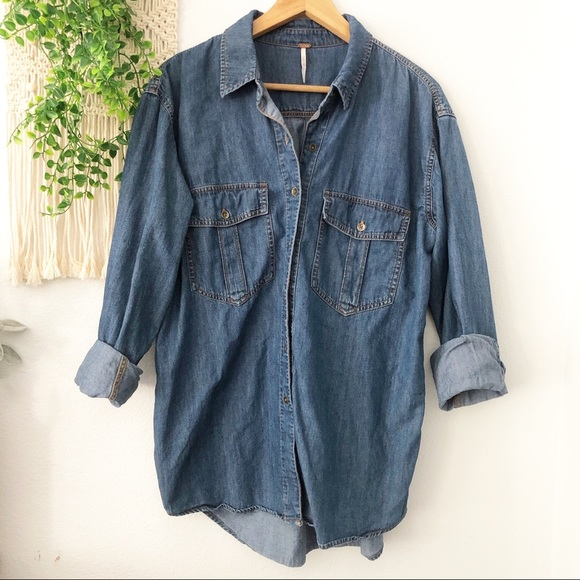Free People Tops - FREE PEOPLE Blue Denim XO Button Down Shirt